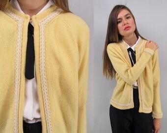 Vintage 60s Angora Cardigan, Sweater Cardigan, 60s Wool Sweater Δ fits sizes: xs / sm / md