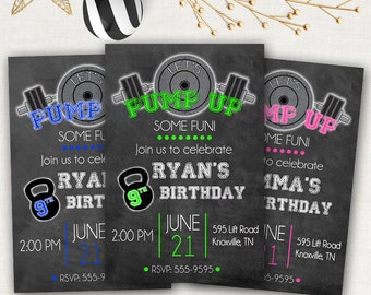 Weight Lifting Birthday Invitation - Personalized Invite - Work Out Party - Fitness Party - Gym - Training - Printable