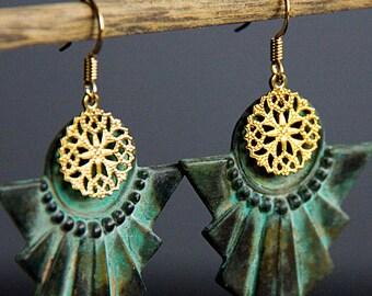 Art Deco Earrings Round Floral Filigree Patina Egyptian Dangle Earrings Verdigris Geometric Earrings Vintage Style Jewelry - E296