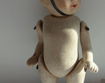 Bisque Boy Doll, Miniature Porcelain Doll Reproduced  In The Style Of A1920's jointed Bisque mignonette Boy Soldier, Imperial Guard