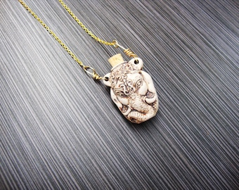 Ceramic Ganesha head bottle pendant necklace