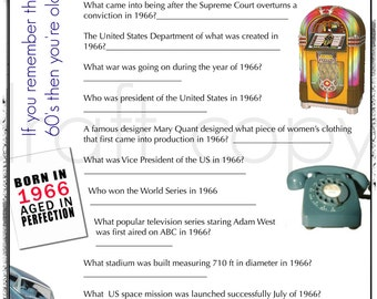 Th Birthday Trivia Game Instant Download Everything To - United states trivia