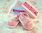 Strappy Sandals for 14.5 inch doll Pink Polka dot