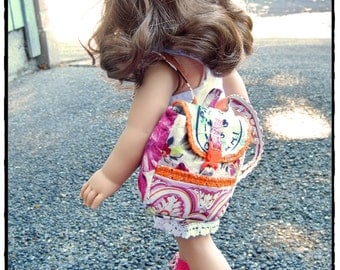 18 inch doll old school back pack - large pink floral with orange lace trim and orange buckle