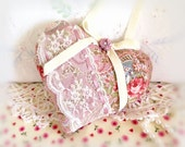 """Valentine Heart Ornament  Home Decor Heart Pillow, 5"""" Rose Pink Floral Fabric, Handcrafted Handmade CharlotteStyle Handcrafted Folk Art"""