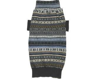 Large Designer Dog Sweater, Blue Knit Fair Isle Wool Blend, Handmade Pet Puppy Apparel Clothes 0246