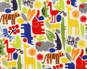 LAMINATED cotton fabric by the yard - 2D Zoo Primary (aka oilcloth coated vinyl fabric ) - Alexander Henry