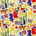 20 x 20 LAMINATED cotton fabric - 2D Zoo Primary (aka oilcloth coated vinyl fabric ) - Alexander Henry