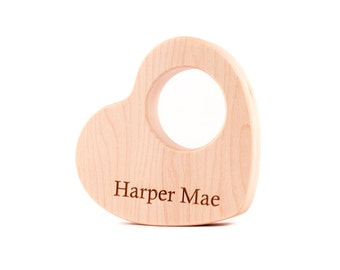 VALENTINE SALE -  personalized heart teether - 25% OFF - all natural wooden teething toy for baby gift, First Valentine's Day keepsake