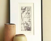 Original Etching Print MISTY MORNING Abstract Floral Branch Tree Engraving Printmaking Zen Home Wall Decor Print Fine Art 10x7