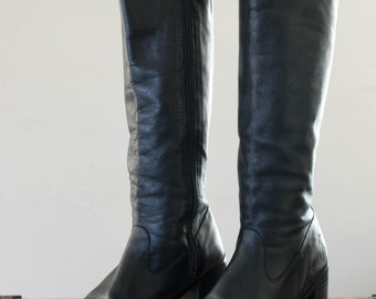 black leather boots - 8.5