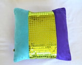 Glitter Pillow - Teal and Purple Plush with Green Sequin - Handmade