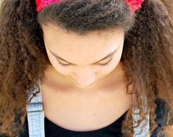 Bright Red Tie Headband, Fuchsia Hair Bow Headscarf, Bandana Beach Headband