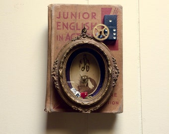 Altered Book, Assemblage Art, Steam Punk, Teacher, Mixed Media, Vintage Art, Repurposed Vintage, Vintage Home Decor