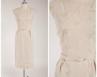 Vintage 1950s Dress • Other Dancers • Embroidered Pastel Linen 50s Sheath Dress with Bow Detail Size Small