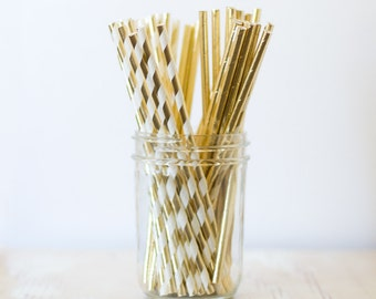 Gold Solid Metallic / Gold Stripe Metallic Paper Straws - 24 pc