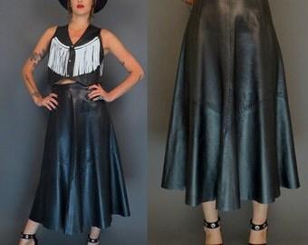 vintage 80s black leather maxi skirt // boho skirt // biker // rock n roll // size 8