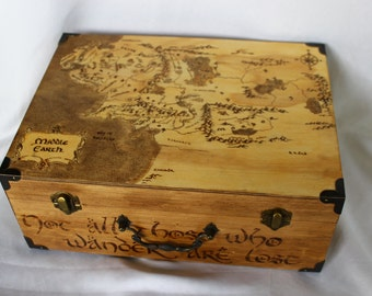 Middle Earth Lord of the Rings Hand Woodburned Map Box with Quote