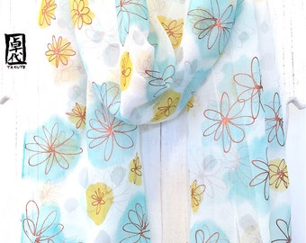 Silk Scarf Handpainted, Christmas Gift for her, Blue and Mustard Yellow Silk Scarf, Copper Gold and Robins Egg Blue Wildflowers, 11x60 inch