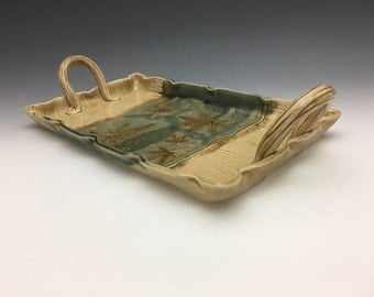 Japanese Maple Leaf and Wood Textured Serving Tray
