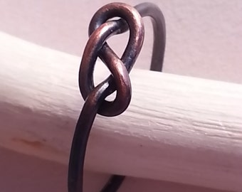 Copper Loveknot Ring eternity knot dainty rustic stacking