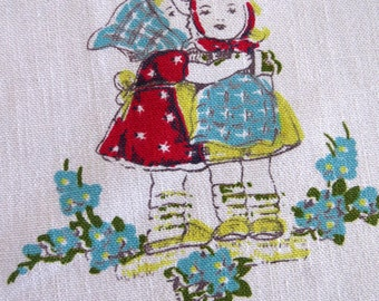 1950s Hummel Children Tablecloth by Sun Glo - German Figurine Pattern - Boys Girls Animals - Vintage Red White Table Linens - Collectible