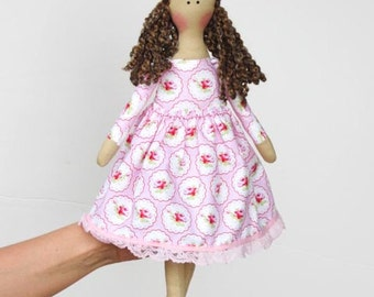 Fabric doll in pink dress cloth doll cute brunette softie plush rag doll - gift for birthday, baby shower, nursery decor