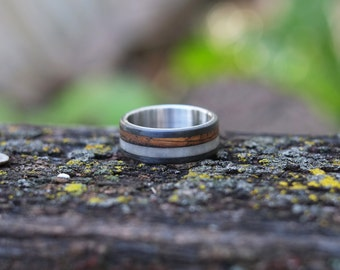 Antler and Whiskey Barrel Ring with Carbon Fiber and Steel