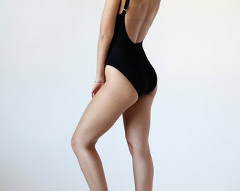 Vintage 90s Black Ribbed High Cut Bathing Suit with Gold Metal Straps Size 4 Small - Made in USA