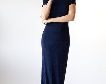90s Midnight Blue Body Con Maxi Dress Skinny Lycra Spandex Dress size small medium s/m - Red 1 #14