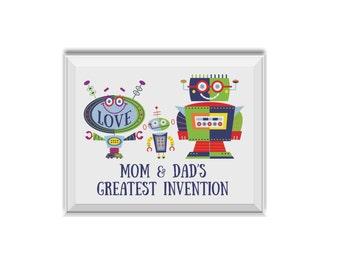 Mom & Dad's Greatest Invention, Robots Nursery Decor, Baby Boy, Monogram Name, Alphabet, Baby Name, Robots, Robot, Stars, Blue, Navy Blue