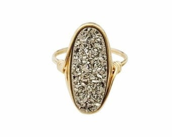 Meteorite Long Oval Druzy Statement Ring
