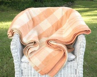 Vintage wool blanket, peach plaid blanket, extra long carriage blanket