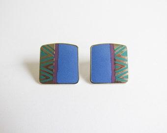 Laurel Burch Naito Earrings / Vintage Laurel Burch Earrings / Geometric Earrings / 80s Earrings / Abstract