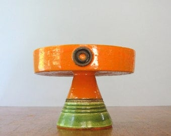 Mid Century Bitossi Italian Pottery Pedestal / Footed Console Bowl / Dish Orange