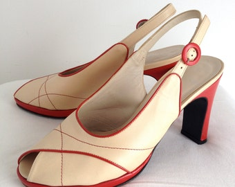 Caparrini Cream and Red Leather Slingback Heels, All Leather, Made in Italy, Size 40 USA 9