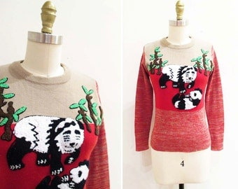 Vintage 1970s Sweater | Novelty Panda 1970s Space Dyed Sweater | size small - medium