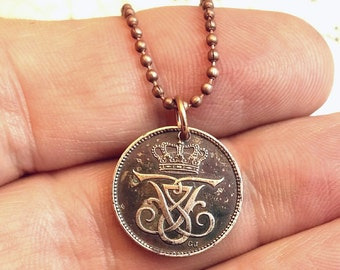 Danish COIN NECKLACE - tiny coin pendant - 1907 copper coin - Monogram F - Frederik VIII - Initial F - viking - celtic - danish jewelry