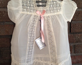 NEW Vintage Baby Gown / Baby Sheer Dress / Vintage Baby / Toddler Dress / New Vintage / Pink Bows