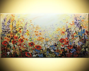 Landscape Poppies Large Canvas hand painted ORIGINAL Modern 24x48 Impasto heavy texture Palette knife oil Flowers Fine Art Deco by IraSher