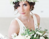 Bridal Flower Wreath, Ivory Flower Crown, Bridal Hair Crown, Floral Hair Wreath, Flower Tiara, Flower Crown Headband, Flower Headpiece