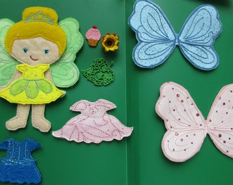 Felt Paper Doll Fairy Tea Party Set- Outfits and Accessories Only