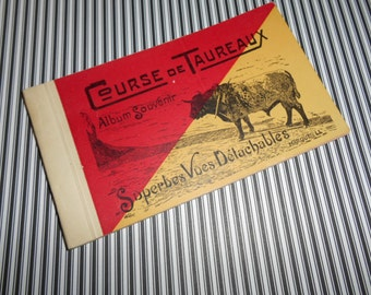 12 Early Antique French Course De Taureaux Souvenier Bull Fighting Postcard Book Hand Tinted