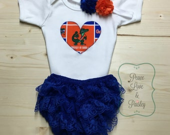 Gators Bodysuit, Lace Ruffle Diaper Cover and Headband Set Made from University of Florida Fabric, Gators Baby Outfit