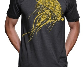 Mens Jellyfish T Shirt - High Quality and Fast Shipping Nautical Graphic Tshirts Beach Gifts - Lifes a Beech - Plus Size - S M L Xl 2X 3X