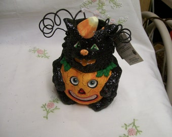 Halloween Candy Container Black Cat Pumpkin by Department 56
