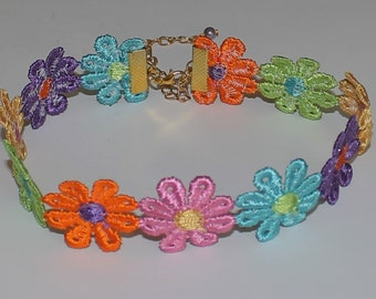 Lace Colorful Rainbow Flower Choker Necklace Boho Music Festivals  Handmade