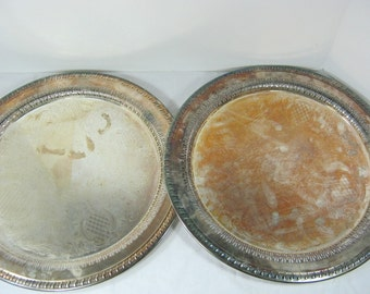 Vintage SILVERPLATE TRAY S/2 MATCHiNG Tarnished Patina WEDDING Deep Open Work Rim Rustic Serving