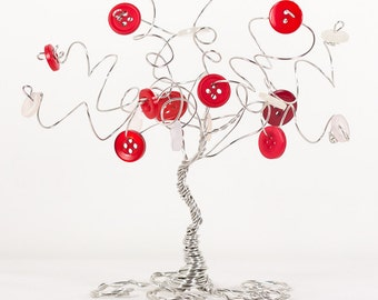 Cute As A Button A Whimsical One of a Kind Tree Wire Art Tree Sculpture with Vintage Buttons in Red and White