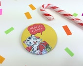 Badge Nadolig Llawen Welsh Text Merry Christmas Retro Bright Yellow Kitty Cat 58mm